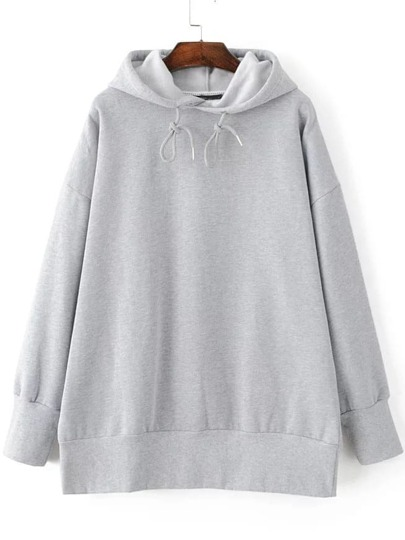 Grey Drop Shoulder Hooded Loose Sweatshirt