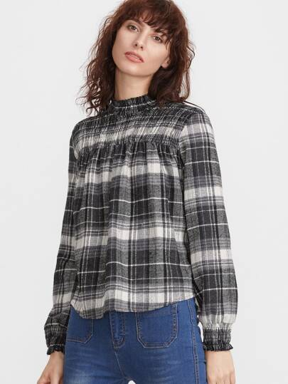 Black And White Plaid Ruffle Neck Pleated Blouse