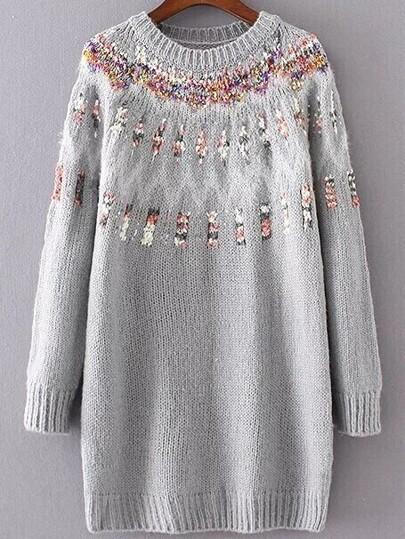 Grey Ribbed Trim Chunky Jacquard Sweater
