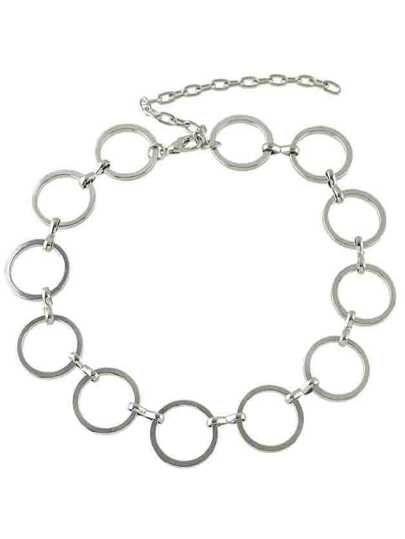 Silver Wide Metal Chain Choker Necklace For Lady