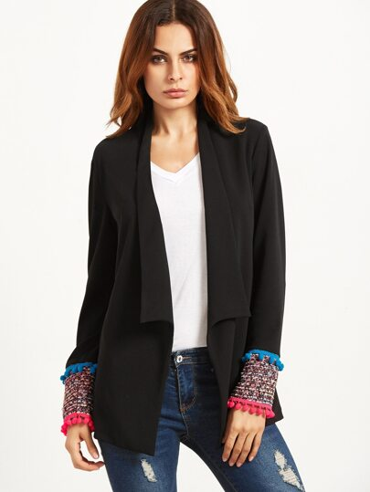 Black Shawl Collar Pom Pom Trim Tweed Cuff Blazer