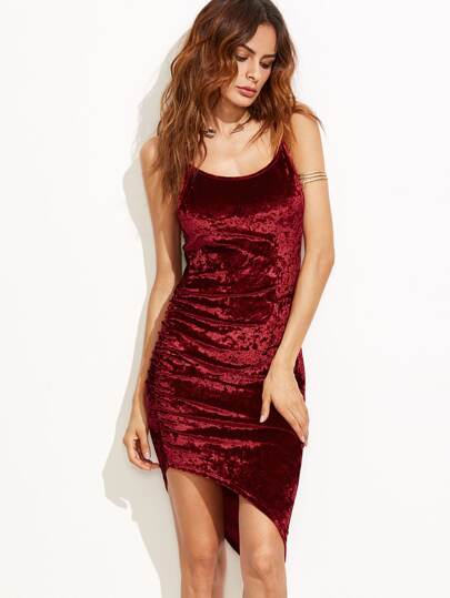 Ruched Asymmetric Velvet Cami Dress