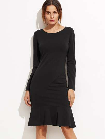 Black Ruffle Hem Long Sleeve Pencil Dress