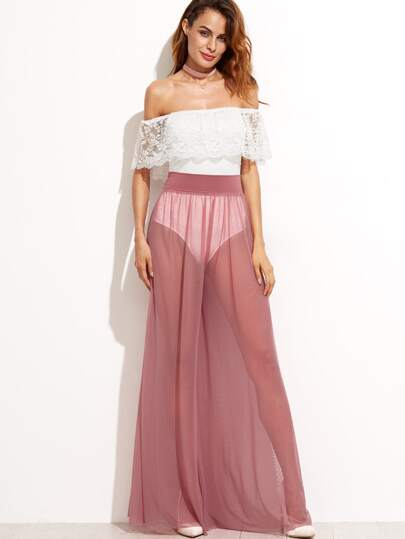 Pink Wide Leg Sheer Pants