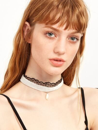 White Velvet Faux Pearl Lace Choker Necklace