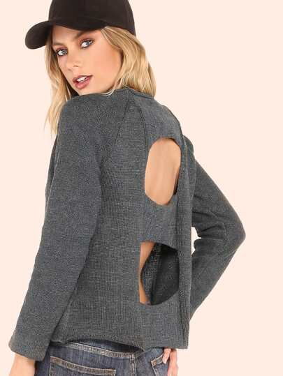 Cutout Back Crew Neck Knit Sweater CHARCOAL