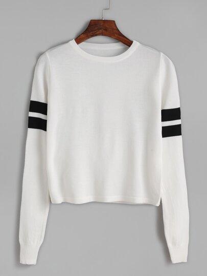 Jersey manga larga con rayas - blanco