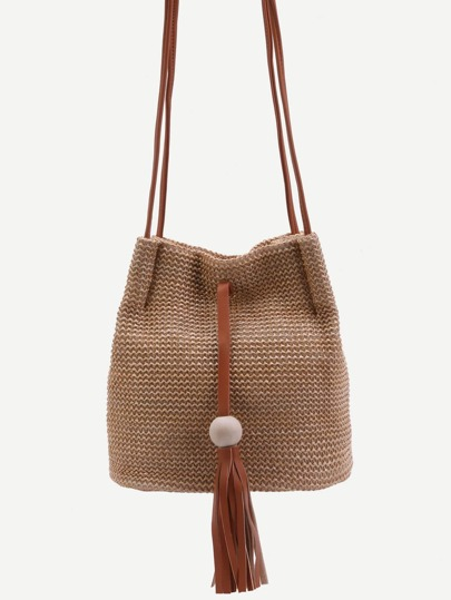 Khaki Woven Button Closure Tassel Trim Crossbody Bag