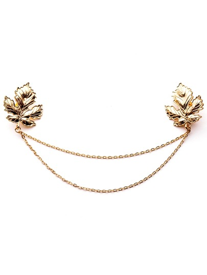 Gold Plated Chain Leaf Brooch