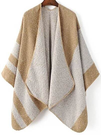Khaki Color Block Shawl Collar Poncho Sweater