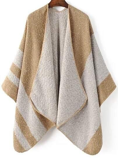 Pull poncho col écharpé couleur bloc - kaki