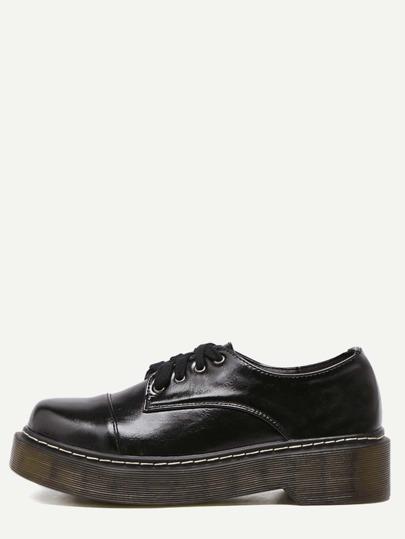 Black PU Square Toe Lace Up Low Top Shoes