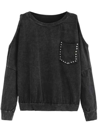 Black Open Shoulder Pocket Sweatshirt