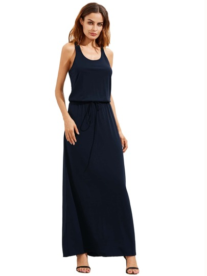 Navy Self-tie Waist Sleeveless Maxi Dress