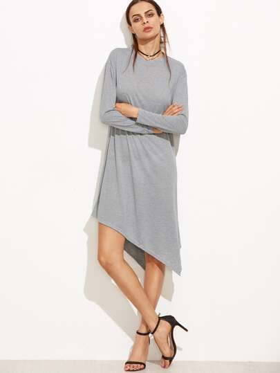 Light Grey Long Sleeve Asymmetric Tee Dress