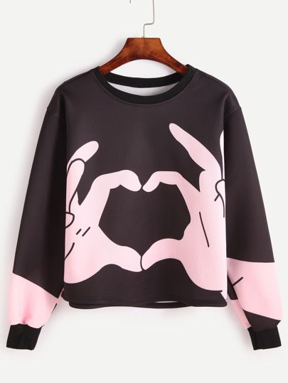 Black Love Gesture Print Sweatshirt