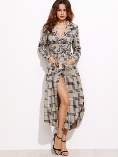 Khaki Plaid Curved Hem Belted Trench Dress