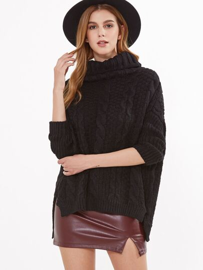 Black Cable Knit Turtleneck High Low Sweater