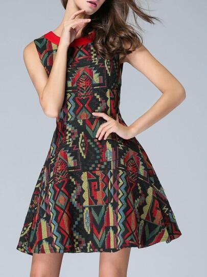 Vestito Tribale Jacquard A-Linea - Multicolore