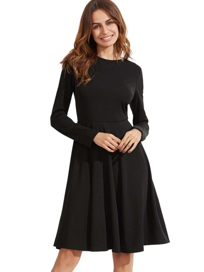 Black Pleated Long Sleeve A-Line Dress