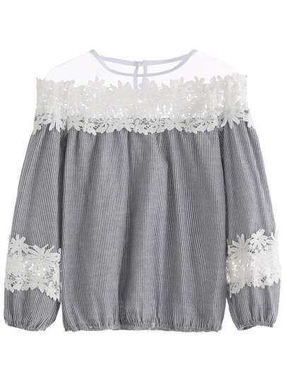 Grey Striped Lace Contrast Mesh Top