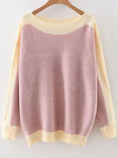 Pink Color Block Boat Neck Drop Shoulder Knitwear