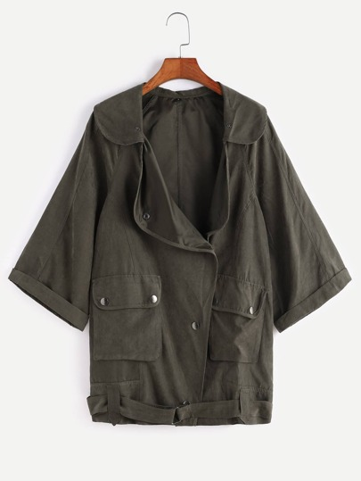 Olive Green Asymmetric Button Front Belted Hem Utility Coat