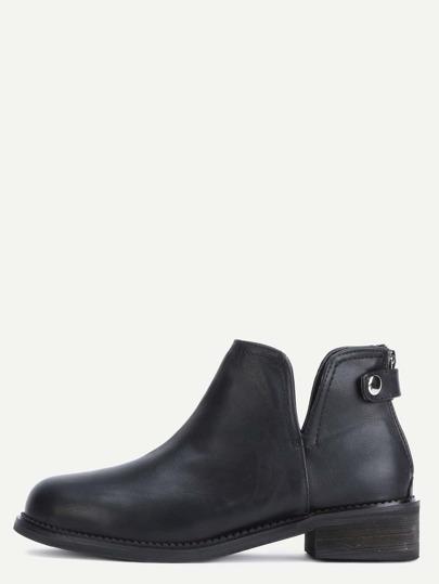 Black Faux Leather Back Zipper Button Strap Shoes