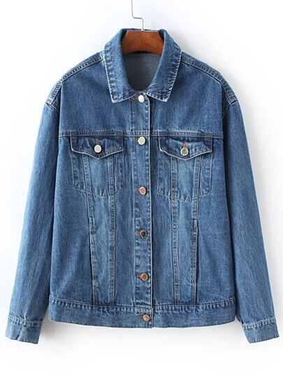 Blue Flower Embroidery Back Denim Jacket