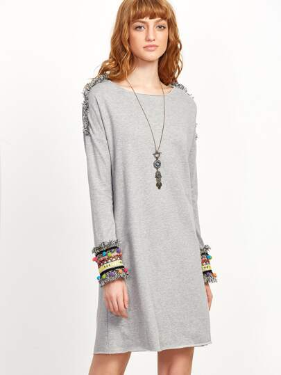 Heather Grey Woven Tape And Fringe Detail Shift Dress