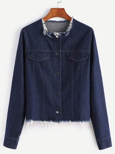 Тёмно-синяя джинсовая куртка