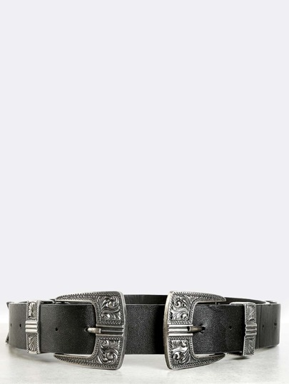 Square Double Buckle Belt SILVER
