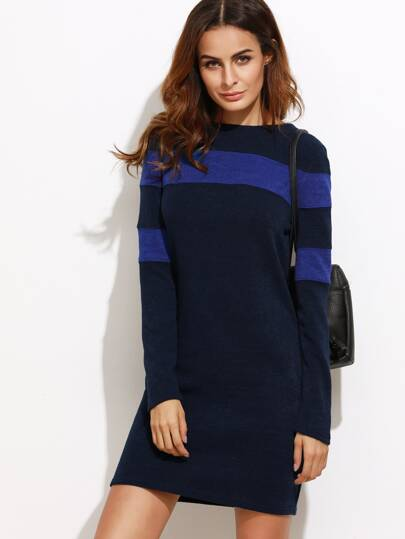 Color Block Long Sleeve Sheath Dress