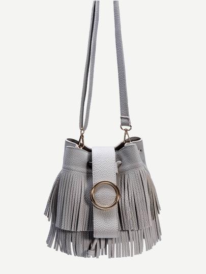 Grey PU Fringe Trim Drawstring Bucket Bag