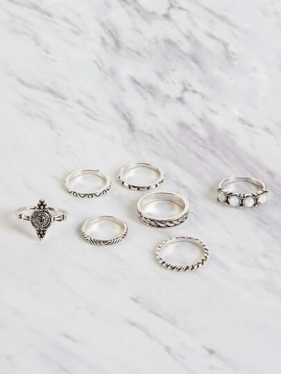 Engraved Faux Stone Ring Set SILVER