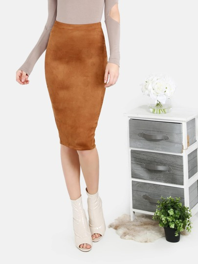 Faux Suede Midi Pencil Skirt RUST