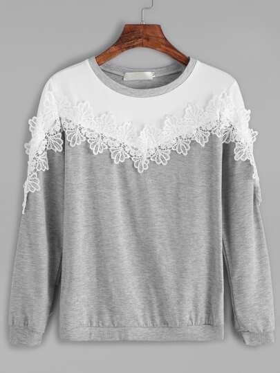 Color Block Applique Trim Sweatshirt