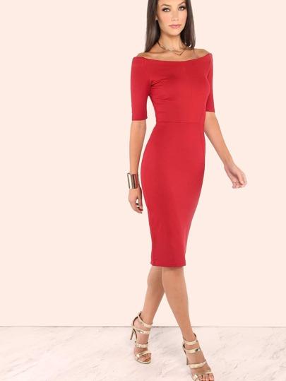 Quarter Sleeve Off the Shoulder Dress DEEP RED