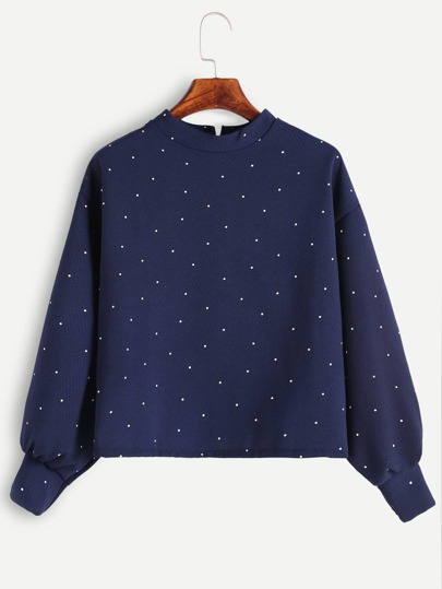 Navy Polka Dot Mock Neck Zipper Back Blouse