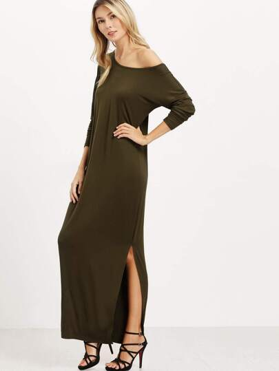 Army Green Oblique Shoulder Boatneck Bat Sleeve Slit Dress