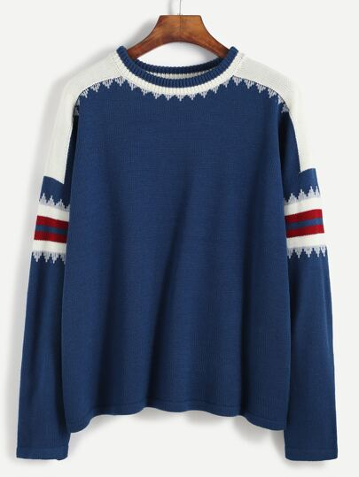 Blue Striped Panel Pullover Sweater