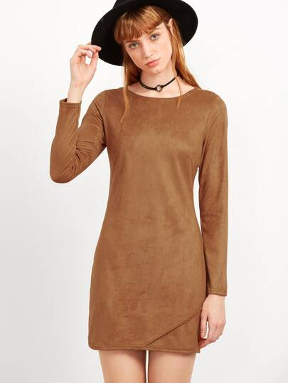 Khaki Suede Zipper Back Bodycon Dress