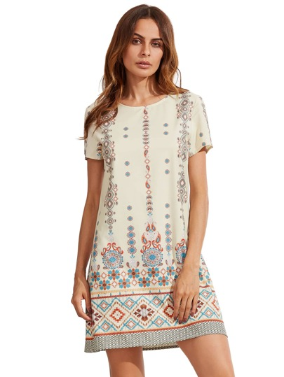 Tribal imprimé manches courtes Shift Dress