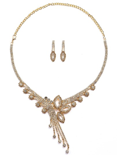 Champagne Rhinestone Statement Jewelry Set