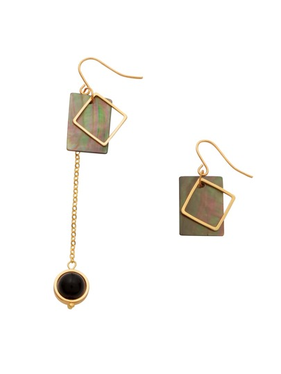 Gold Faux Stone Cutout Geo Asymmetric Drop Earrings