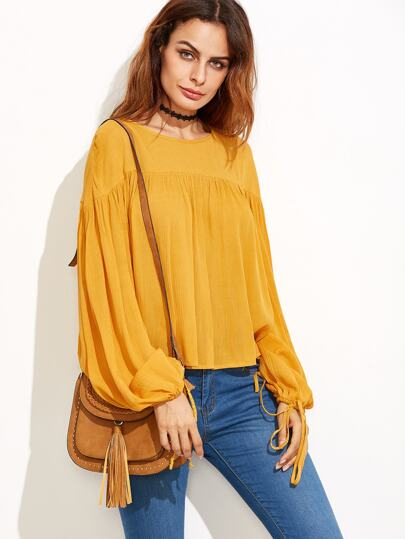 Yellow Lantern Sleeve Drawstring Blouse