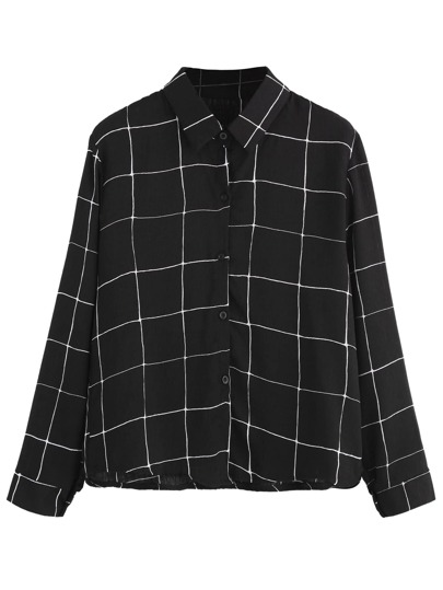 Camicetta Con Bottoni Plaid - Nero