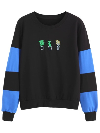 Black Potted Embroidered Sweatshirt