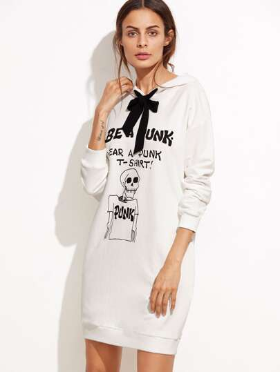 Бежевое платье-свитшот с капюшоном с бантом