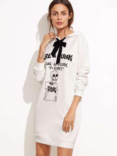 Beige Print Contrast Bow Tie Hooded Sweatshirt Dress